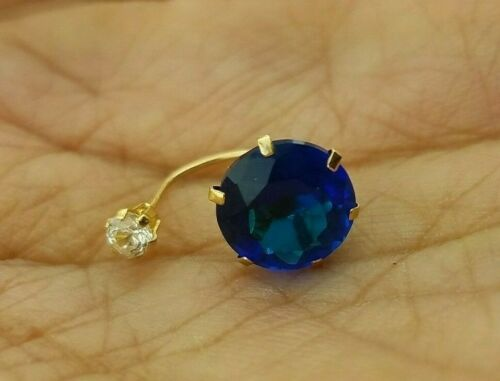 Blue Sapphire 0.10 CT Belly Navel Ring Body Piercing Jewelry 14k Yellow Gold