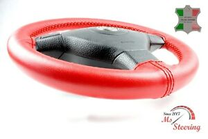 FOR-AUDI-A5-14-14-RED-LEATHER-STEERING-WHEEL-COVER-DARK-RED-2-STIT