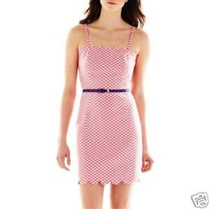 I-Heart-Ronson-Pink-Jaquard-Dot-Dress-New-Juniors-Size-10-Msrp-65-00