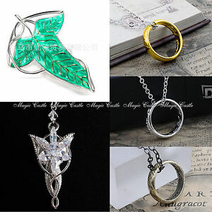 Lord-of-the-Rings-Hobbit-Ring-Evenstar-Oakenshield-Key-Necklace-Leaf-Brooch