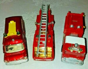 Matchbox-Superkings-Fire-Tender-K9-Corgi-Fire-Transit-Van-amp-Mack-C-F-Pumper