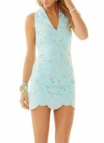 298 New Lilly Pulitzer ESTELLA SHIFT DRESS Cotton bluee gold Embroidery 0 2 6 8