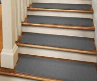 Set Of 15 Tape-down Carpet Stair Treads Gray Runner Rugs