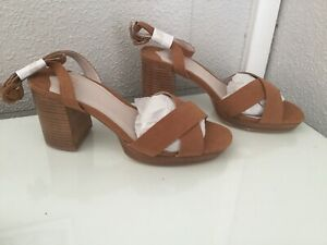 169b171d954 Faith Womens Tan Suedette  Darcy  High Block Heel Wide Fit Ankle ...