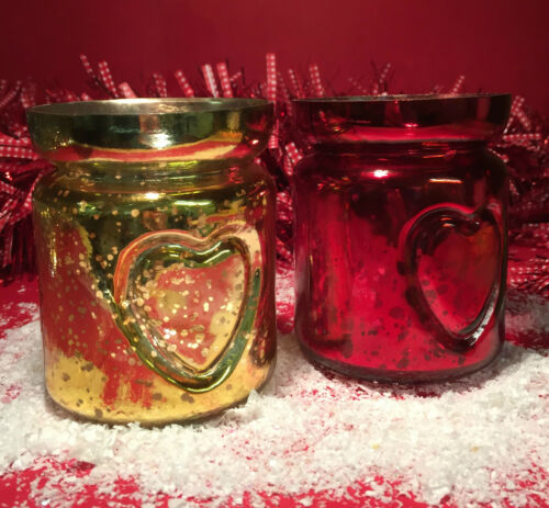 Set of 2 Red /& Gold Glass Embellished Heart Christmas Tea Light Candle Holders