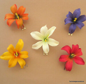 """Dance 5 Piece Lot Small  2/"""" Canary Lily Silk Flowers Hair  Clip Prom,Wedding"""
