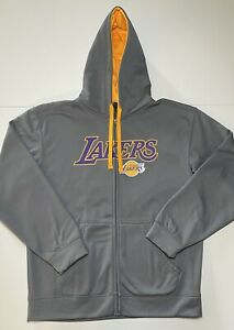 Los Angeles Lakers Zip Up Hoodie Gray Yellow Polyester Men S Size Large Ebay