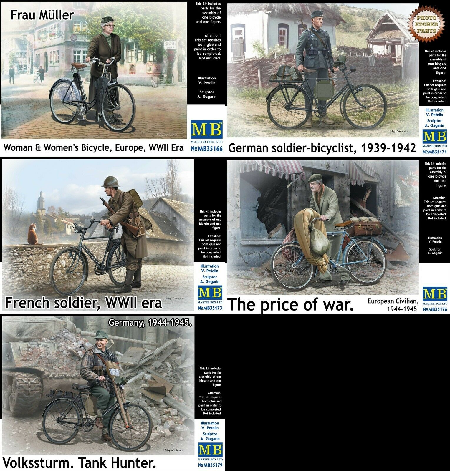 Master Master Master Box MB 1 35 WWII Soldiers & Civilians w Bicycles (5 Boxes) (No Boxes) 479