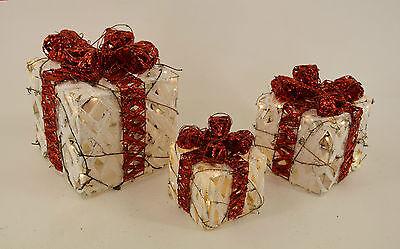 Dekobote, Rattan 3er Set Pakete LED beleuchtet Weihnachtsdeko BATTERIE Geschenke