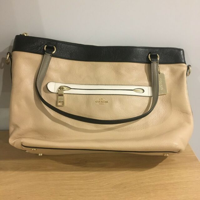 Genuine Coach Bag - Beige/Pink w/ Gold Accents - Comes w/ Shoulder Strap