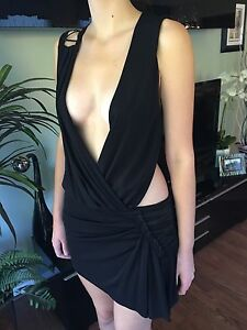 New VERSACE RUNWAY Cutout Deep Neckline Open Back Dress 40 4 SO SEXY ... 228cd62f6ed2