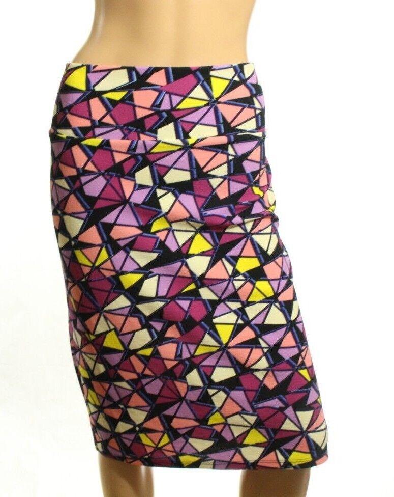 LuLaRoe Cassie Damen Lila Mehrfarbig Geometrische Bleistift Stretchrock Größe L