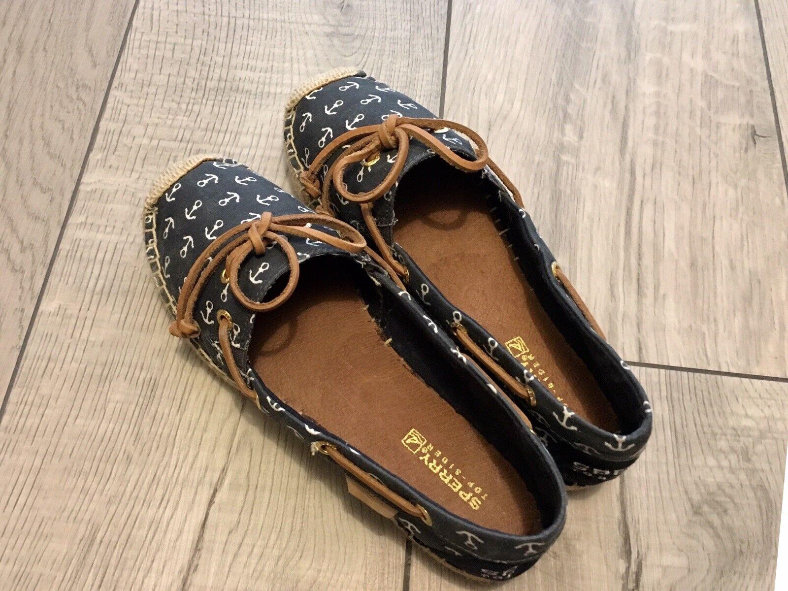 SPERRY Top-Sider Women's Katama Espadrilles Sz 5 Slip-on Canvas shoes Anchor