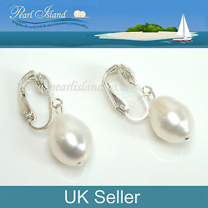 Image Is Loading Large Freshwater White Baroque Pearl Clip On Earrings