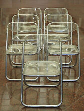 SET of 7 VINTAGE 70s ITALIAN LUCITE PLEXIGLASS & CHROME STEEL FOLDING CHAIRS