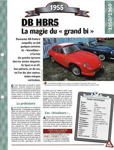 VOITURE DB HBR5 FICHE TECHNIQUE AUTOMOBILE 1955 COLLECTION CAR