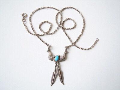 Indianer Kette Fbm 925 Sterlingsilber Mit 2 Federn & Blauem Stein 7,9 G/47cm Jewelry & Watches Fine Necklaces & Pendants