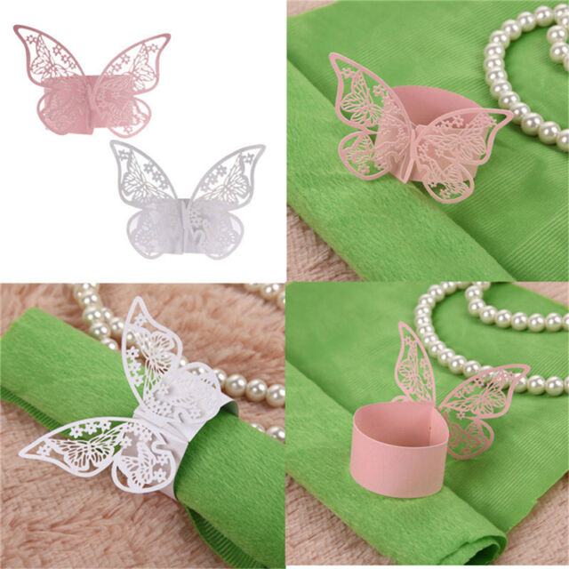 50Pcs Butterfly Napkin Ring Paper Holder Table Party Wedding Favors Banquet ATAU