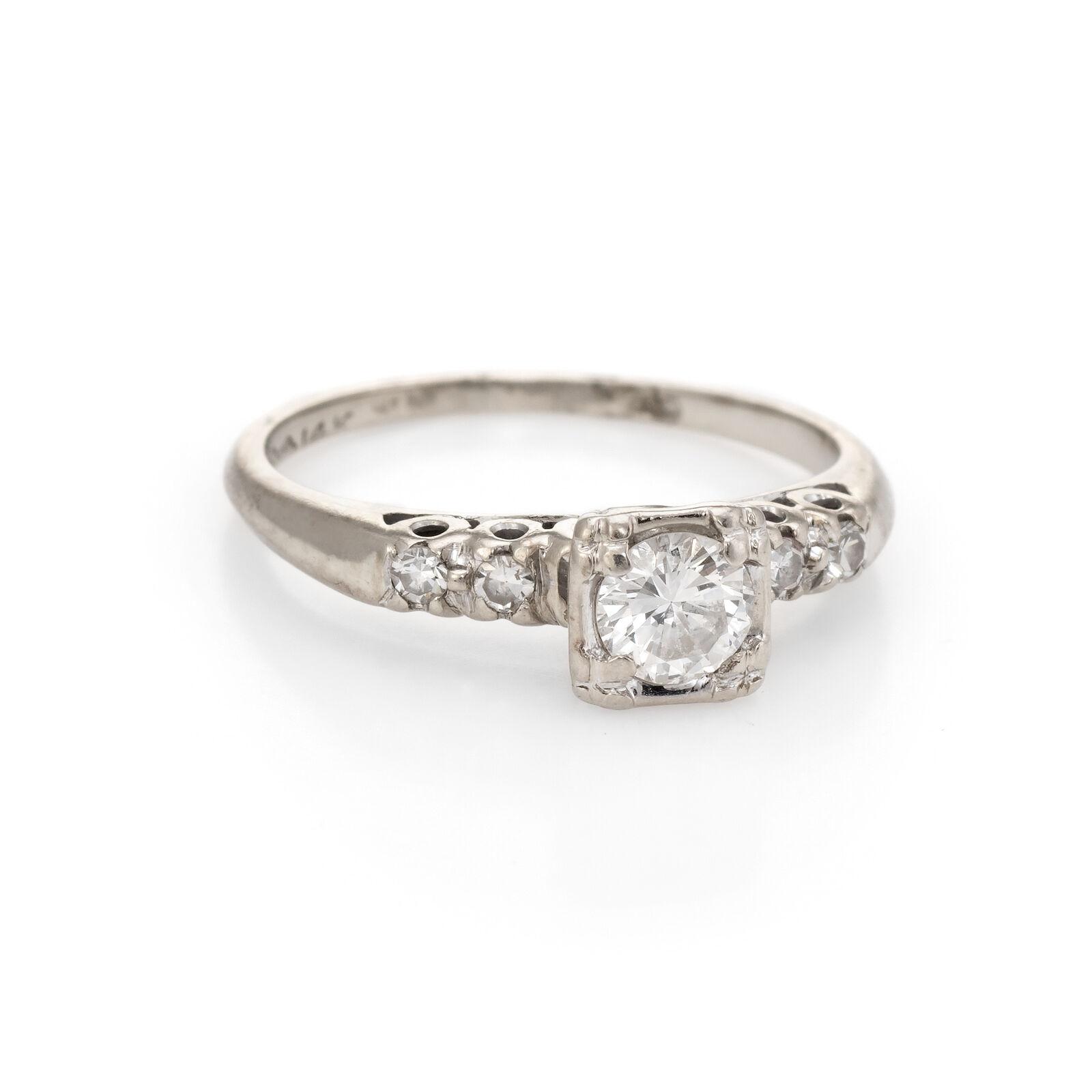 Diamond Engagement Ring Vintage 14k White gold Estate Fine Jewelry Bridal Sz 6