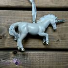 Gisela Graham New White Resin Unicorn Hanging Glitter Christmas Tree Decoration