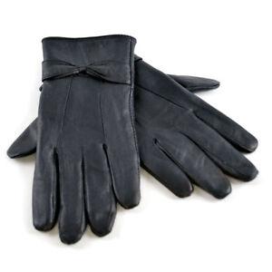 Ladies-Womens-Warm-Fleece-Lined-Black-Winter-Soft-Real-Sheepskin-Leather-Gloves