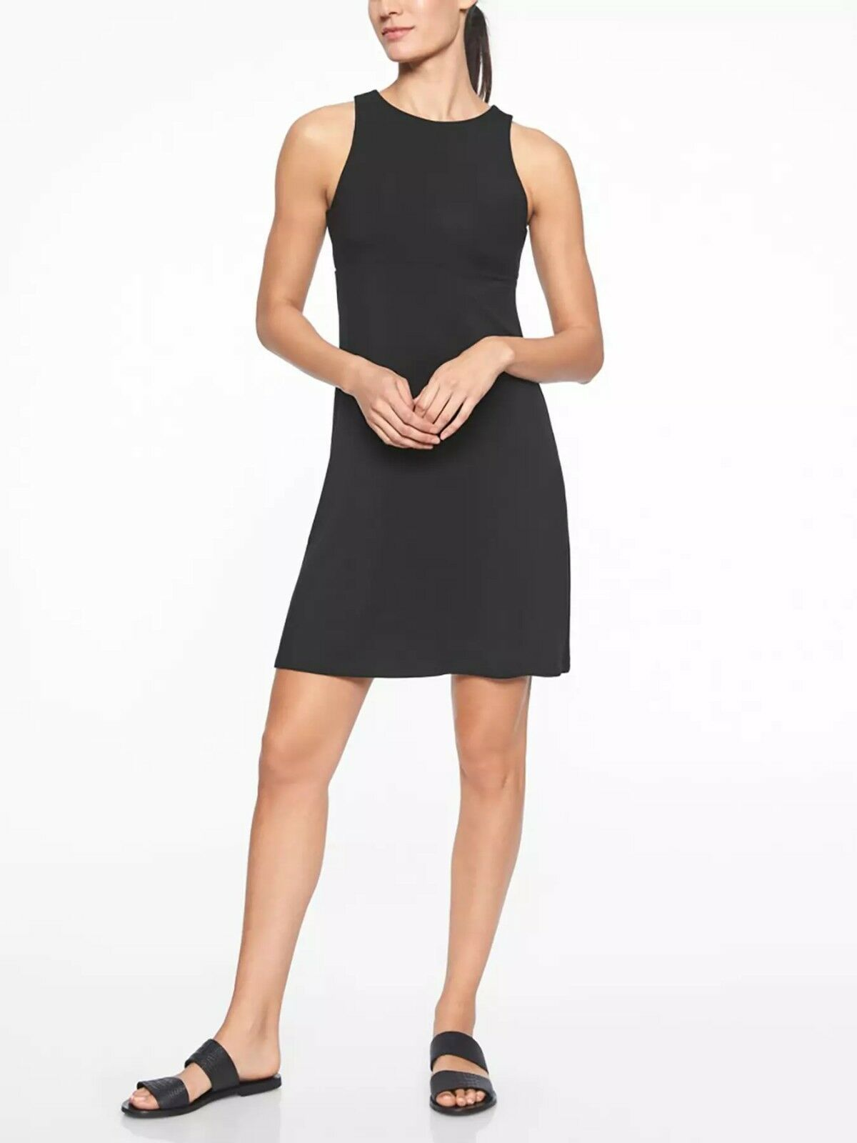NWT Athleta Santorini High Neck Solid Dress, schwarz Größe XLT XL T N0415