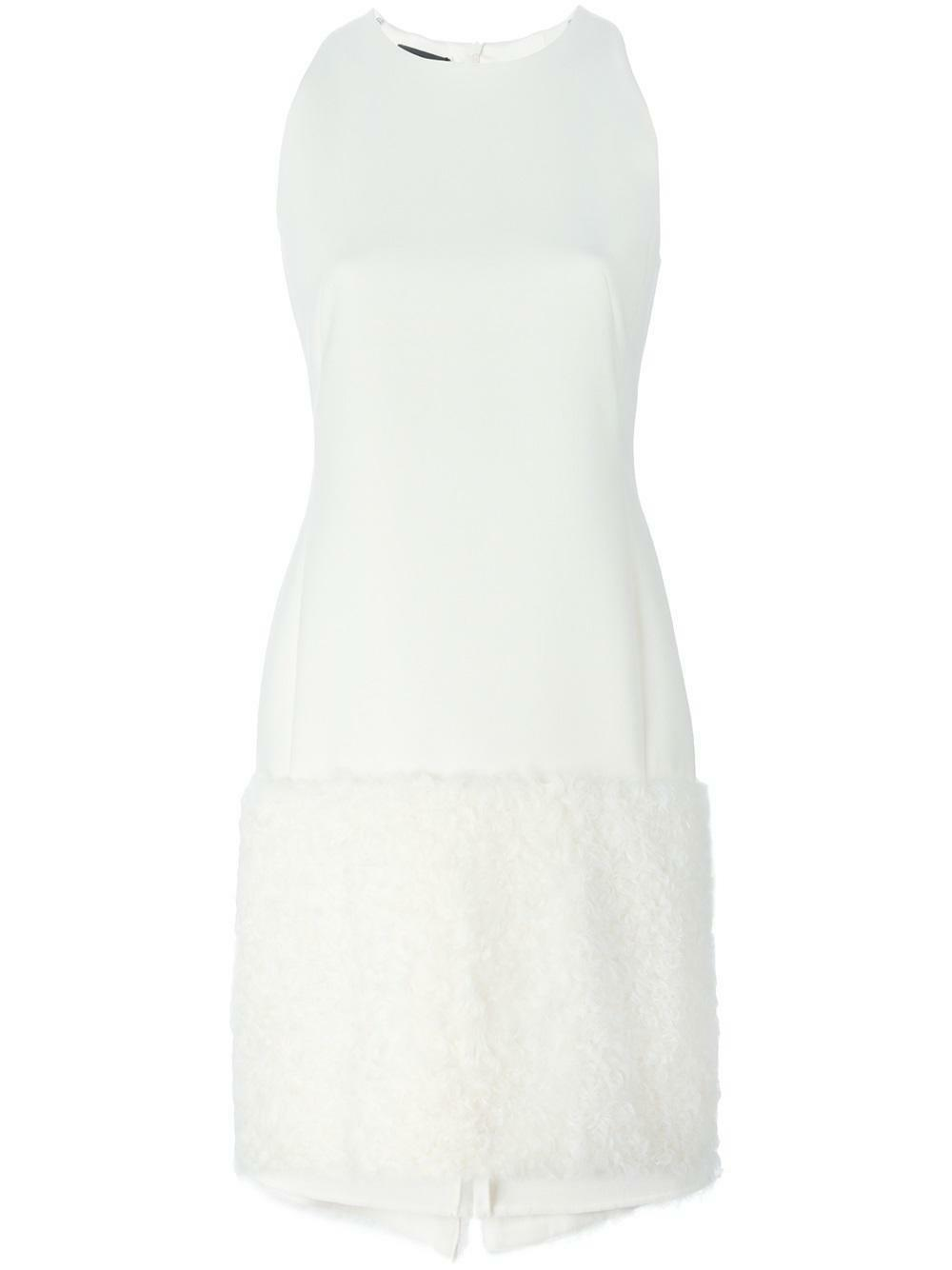 Akris Shearling Fur-Trimmed Schürze Kleid