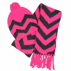 2fc425169bb Details about Jumping Beans Size Small 4 - 8 Pink   Grey Chevron Chenille  Hat   Scarf Set NEW