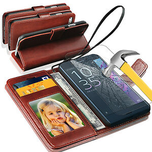 Rich-Luxury-Magnetic-Leather-Wallet-Flip-Case-Sony-Xperia-X-Compact-amp-Tempered