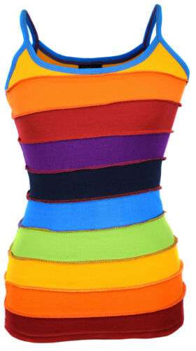 Hippie Boho Cotton Summer Rainbow Striped Patchwork Colorful Nepalese Tank Top