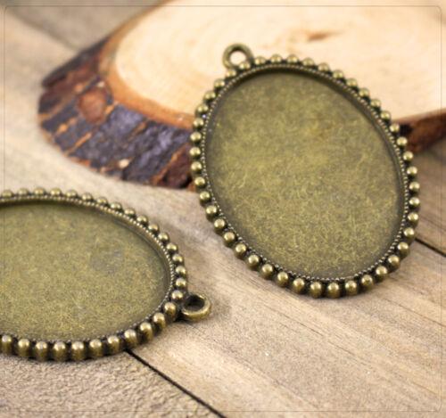 2x colgante Charm versiones para cabuchons joyas DIY bricolaje oval 47x37mm jt120
