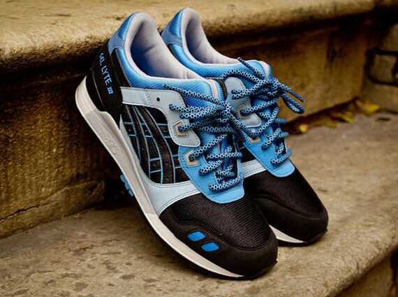 Asics Gel Lyte III Carolina nero blu HN538-9090 Brand New US Dimensione 8.5
