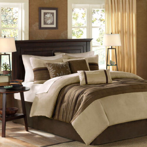BEAUTIFUL ULTRA SOFT CHIC CHOCOLATE BROWN TAUPE SUEDE BEIGE TAN COMFORTER SET