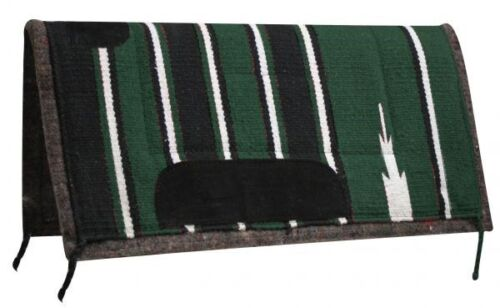 "Showman PONY 24/""x24/"" GREEN//BLACK Navajo Design Saddle Pad w// Suede Wear Leathers"