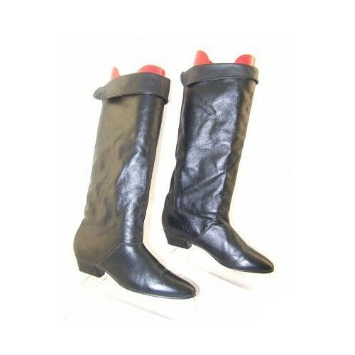 New Donna JOYCE Donna New Pelle Blk Knee-High Pull On Low Heel Riding Boot Shoe Sz 8.5 M 974862