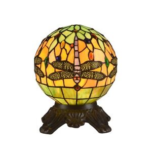 Globe Design Dragonfly Stained Glass Table Lamp Tiffany Style Shade