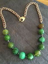 CHUNKY HANDMADE GREEN GEMSTONE NECKLACE LONG GOLD AGATE BEAD DESIGN JEWELRY GIFT
