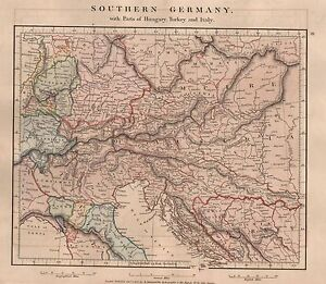 1828 Antique Arrowsmith Hand Coloured Map Southern Germany Turkey