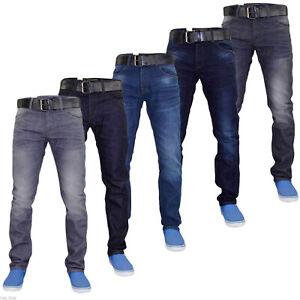 Para Hombre Crosshatch Slim Fit Pantalones Vaqueros Del Dril De Algodon Elastico Con La Correa Libre De Grandes Tamanos De Alto Ebay