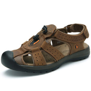 6e6d4fc02e11 Image is loading Mens-Sandals-Leather-Walking-Touch-Strap-Summer-Beach-