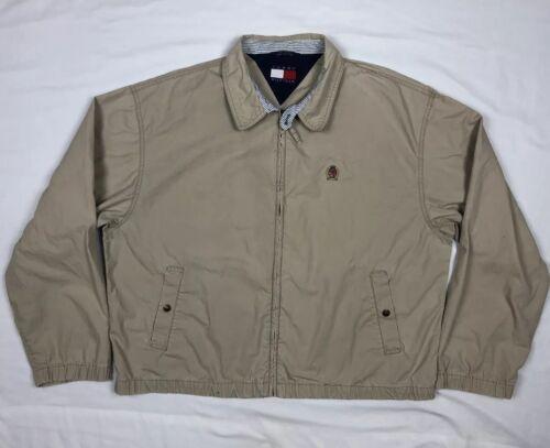 Details about  /Vtg 90s Tommy Hilfiger Crest Mens XL Beige Full Zip Harrington Jacket