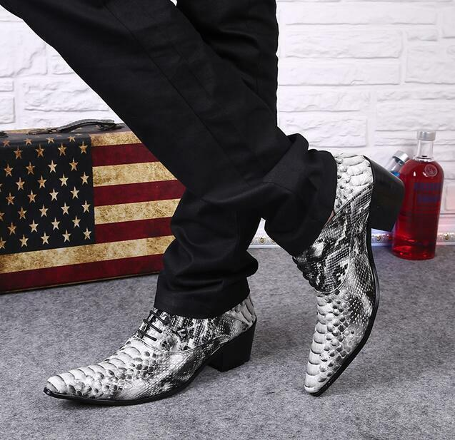 Uomo Shoes Pelle Snakeskin Pattern Lace-up Pointed Toe Party Dress Shoes Zsell