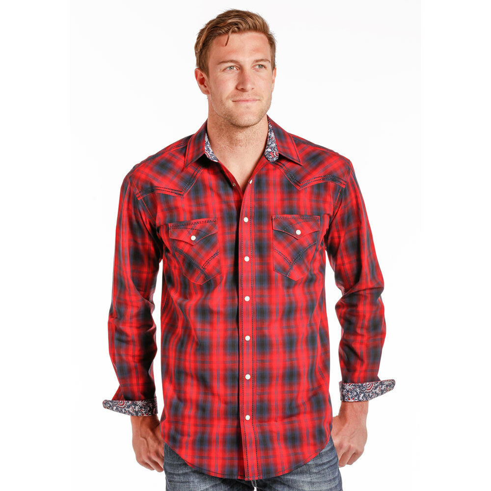 R0F4231 Panhandle Men's Vintage Ombre Red Plaid Long Sleeve Western Snap Shirt