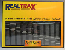 MTH REAL TRAX FASTRACK GRADUATED TRESTLE SET FOR LIONEL TRACK 24PCS 40-1113 NEW