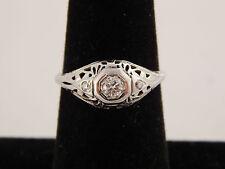 ART DECO .16 ct Filigree Old European Cut Diamond Engagement Ring 18k WG E/VVS