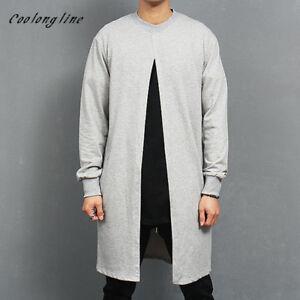 Coolongline Mens Long Sweatshirt Open Placket Vintage Sweatshirts Crew Neck