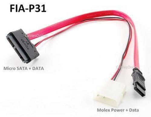 """12/"""" Micro SATA 16Pin Male to 7Pin SATA Data Male with 5V 4Pin Molex Cable"""
