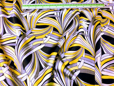 "PALM Print Yellow Gray Faux Silk Satin 48""W Fabric Dress TableCloth Skirt Kimono"