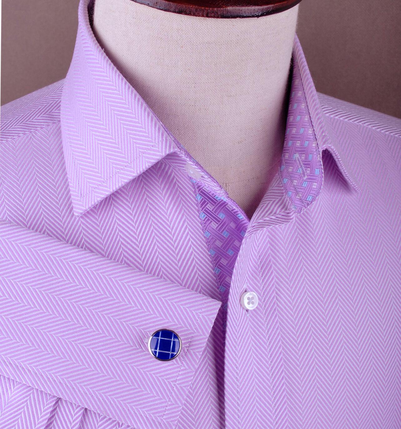 Violet Herringbone Boss lila Designer Luxury Geschäft Dress Shirt Optional Tie