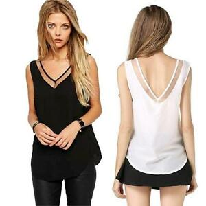 Women-Summer-Blouses-Deep-V-Neck-Loose-Chiffon-Vest-Sleeveless-Tank-T-Shirt-Top